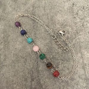 7 Chakra Anklet w/Natural Stones - Stainless Steel